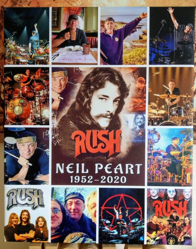 Collage of Neil Peart and RUSH pictures